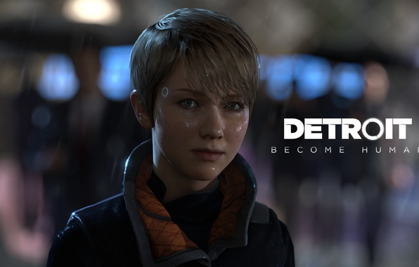 Picture girl, rain, robot, cyborg, black, Detroit: Become Human