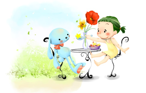 Picture grass, flowers, smile, toy, figure, hare, girl, vase, table