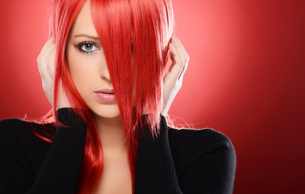 Picture look, girl, face, background, hands, red hair