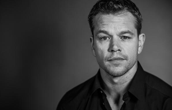 Picture background, portrait, blur, photographer, actor, black and white, Matt Damon, Matt Damon, Jay Sansone