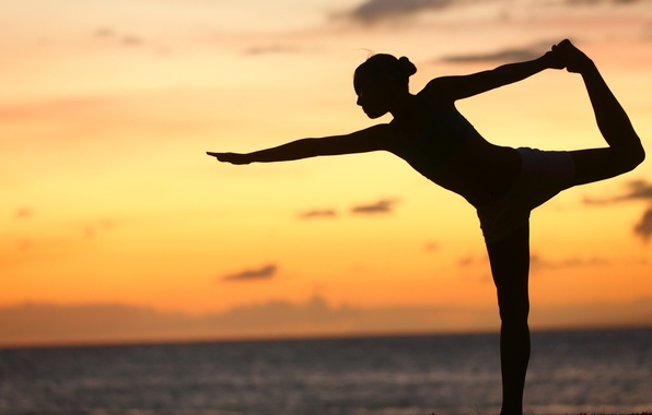 Picture sunset, pose, yoga