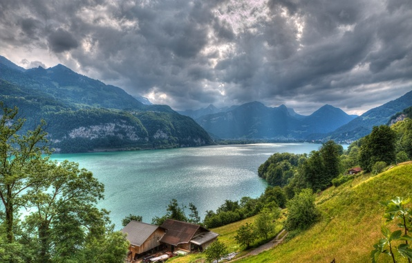 Picture clouds, trees, mountains, lake, home, Switzerland, Alps, Switzerland, Alps, the Walensee, Lake Walensee
