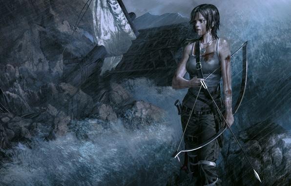 Picture girl, rain, bow, art, arrows, lara croft, tomb raider reborn