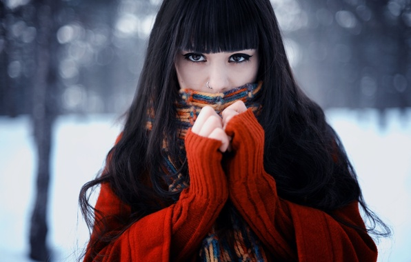 Picture winter, look, face, Girl, scarf, brunette, sweater