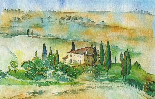 Picture landscape, picture, watercolor