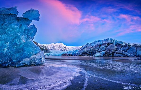 Picture water, sunset, mountains, ice, Iceland, Iceland, Auster-Skaftafellssysla, the Vatnajökull glacier, Vatnajökull