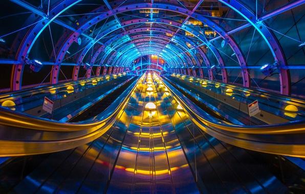 Picture light, metro, Japan, arch, escalator, conveyor