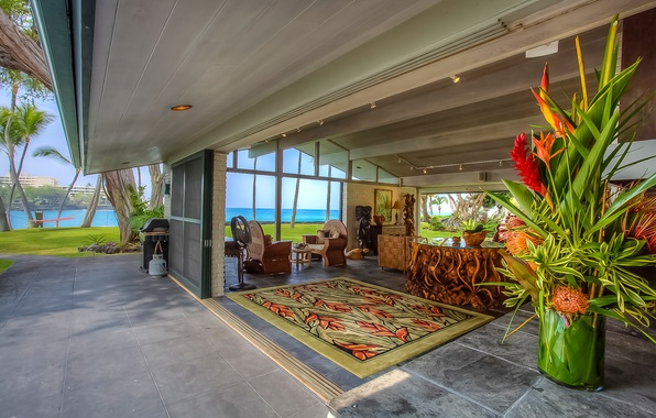 Picture pacific ocean, living room, home, luxury, hawaii