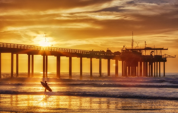 Picture summer, sunset, the ocean, coast, surfer, pierce