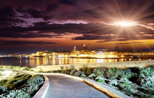 Picture the sun, clouds, landscape, sunset, the city, building, the evening, horizon, track, road, landscape, clouds, …