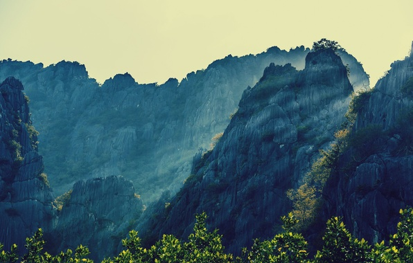 Picture the sky, light, trees, landscape, mountains, nature, Thailand, mountains, rocks, landscapes, tailand