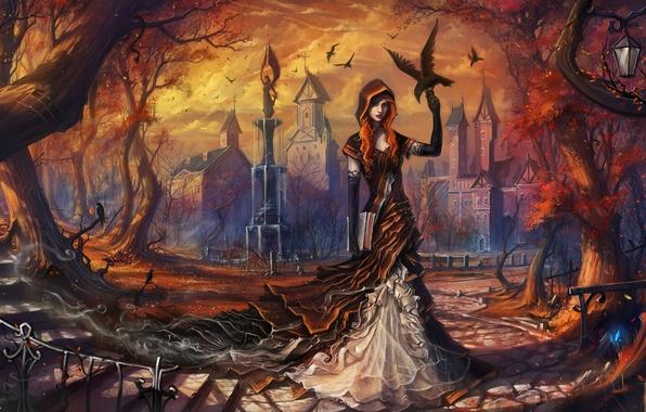 Picture autumn, leaves, girl, trees, birds, the city, art, ladder, lantern, railings, book, steps, Raven