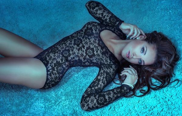 Picture eyes, look, girl, pose, carpet, model, hair, earrings, makeup, lips, lies