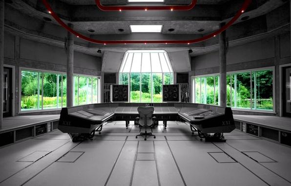 Picture music, Wallpaper, interior, window, sound, speakers, remote, wallpaper, regulators, mixer, Studio, xxl