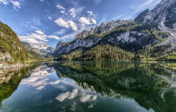 Picture mountains, lake, reflection, Austria, Alps, Austria, Alps, lake Gosau, Lake Gosau