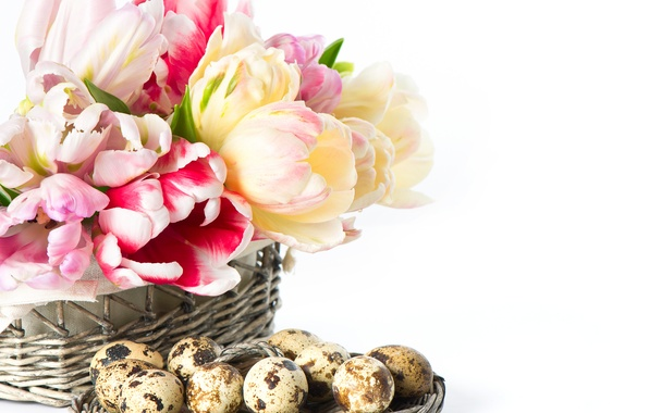 Picture flowers, eggs, Easter, tulips, basket