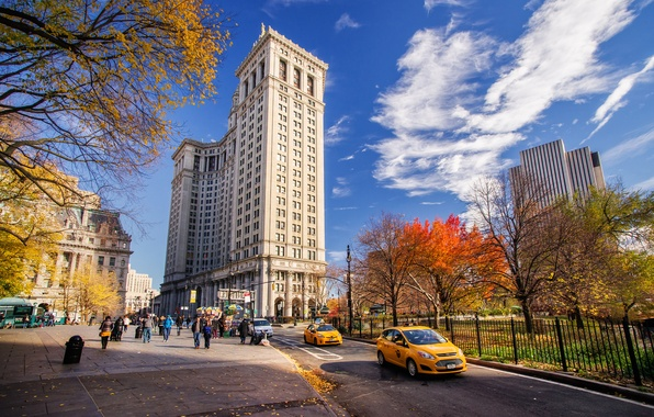 Picture road, autumn, the sky, clouds, machine, the city, Park, people, street, building, home, New York, …