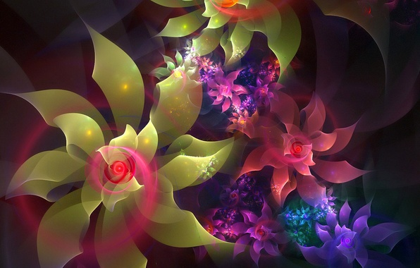 Photo wallpaper flowers, the volume, light, line, petals, spiral
