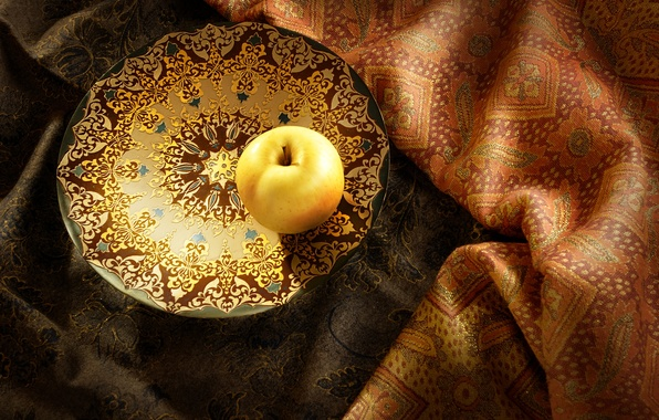 Picture bowl, Apple, yellow