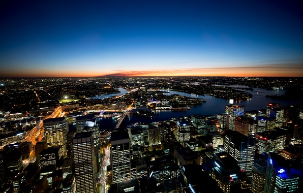 Picture the sky, sunset, the city, river, horizon, Sydney, Australia, sydney