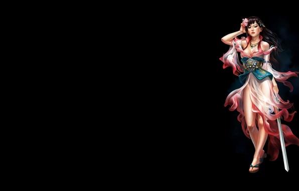 Picture flower, girl, the dark background, minimalism, sword, art