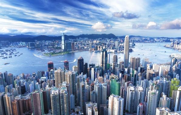 Picture building, Hong Kong, skyscrapers, megapolis, Hong Kong