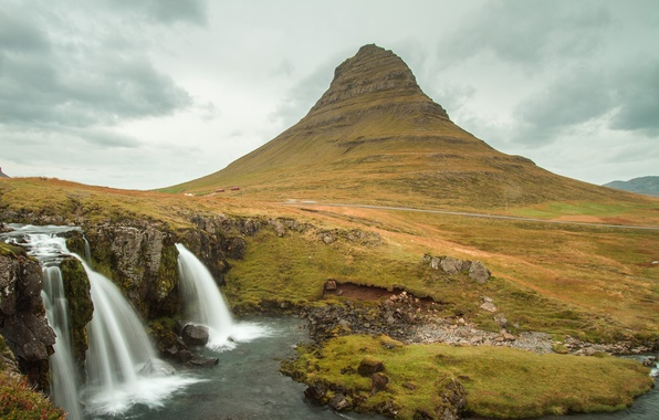Picture the sky, clouds, mountain, waterfall, Iceland, Kirkjufell