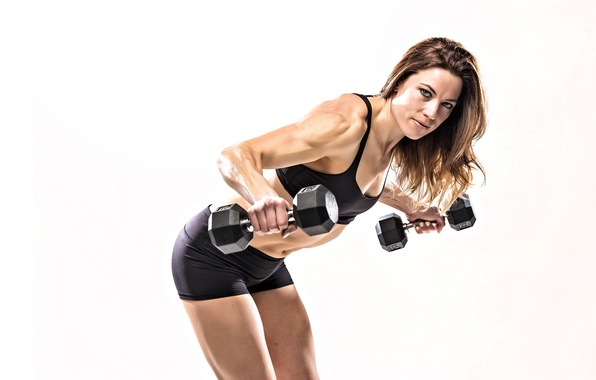 Picture model, pose, workout, fitness, dumbbell, Maria Bresler