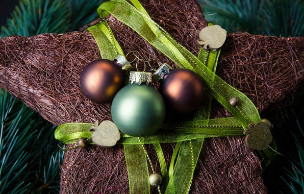 Picture balls, green, holiday, star, New Year, Christmas, decoration, brown