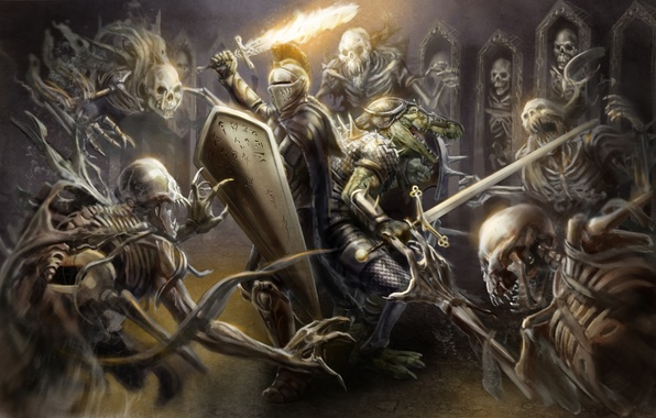 Picture weapons, fire, sword, armor, crocodile, art, helmet, shield, knight, skeletons
