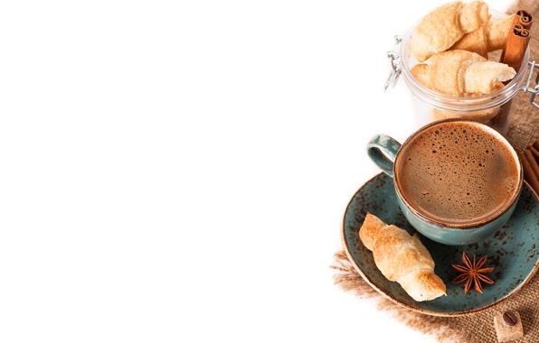 Picture coffee, mug, sugar, drink, cinnamon, saucer, foam, croissants