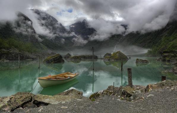Picture mountains, fog, lake, boat, Norway, Lake, Bondhus