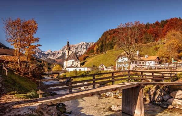 Picture autumn, trees, mountains, bridge, house, river, Germany, Bayern, Alps, Church