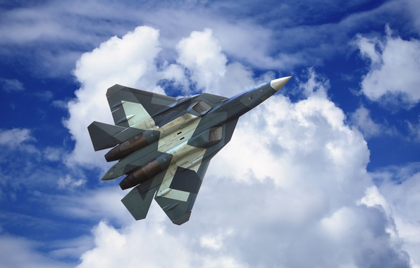 Photo wallpaper developer, Russia., Sukhoi, T-50, PAK FA, flying the sky, BBC, fighter, handsome, the plane, Videoconferencing, ...