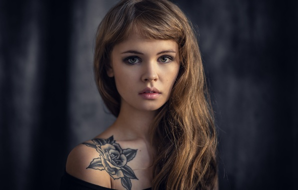 Picture look, girl, face, sweetheart, model, hair, portrait, lips, tattoo, brown hair, beautiful, cute, Nastya, Anastasia …