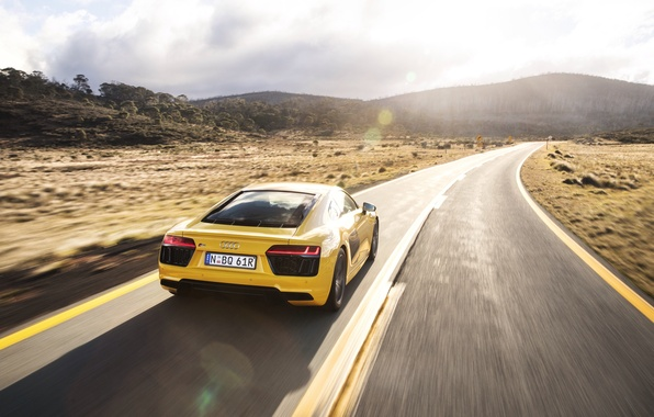 Picture road, auto, the sky, light, Audi, speed, back, V10