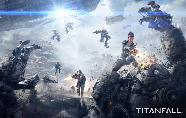 Picture girl, clouds, weapons, war, ships, ray, robots, shot, soldiers, gun, battle, Electronic Arts, Titanfall, Respawn …
