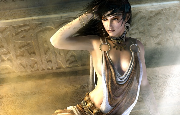 Picture girl, decoration, the city, room, the game, earrings, necklace, fantasy, beauty, Prince of Persia: The ...