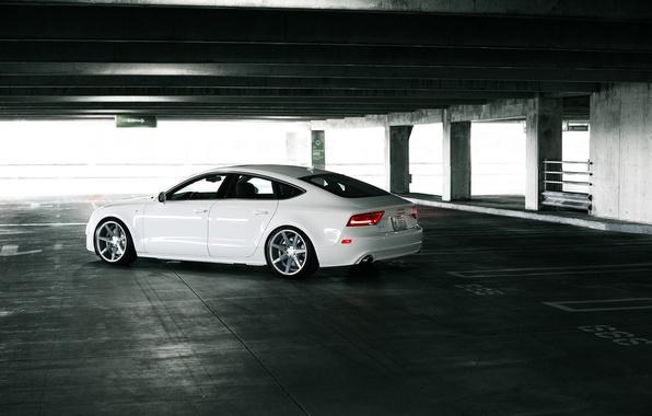 Picture Audi, Audi, Machine, Tuning, White, Parking, White, Tuning, Vossen