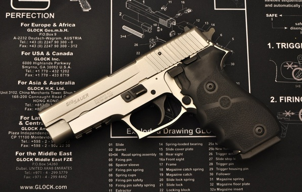 Picture gun, weapons, scheme, details, Assembly, disassembly, Glock, sigsauer, glock