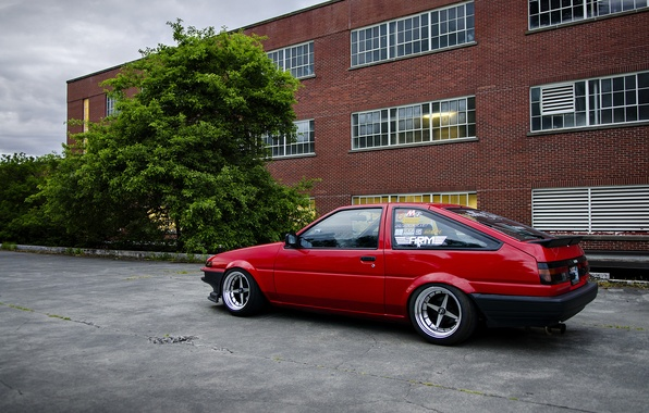Picture red, Toyota, Toyota, AE86, stance, Corolla, JDM, Corolla