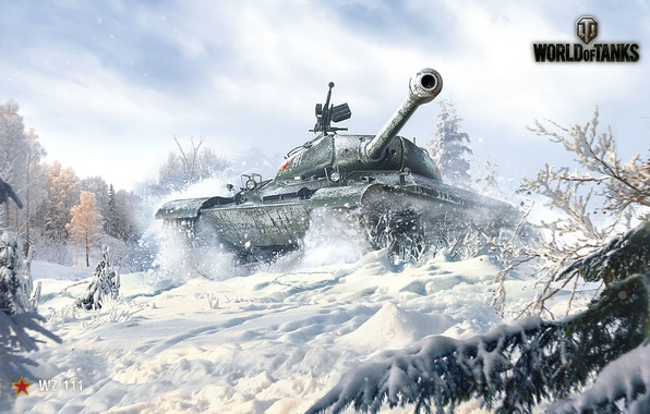 Picture The sky, Clouds, Winter, Trees, Snow, Iron, Trunk, Tank, WoT, World of Tanks, World Of …