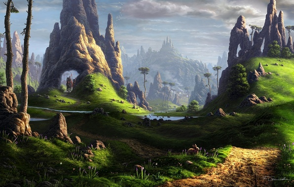 Picture landscape, river, stones, castle, rocks, hare, horses, horse, art, riders, fantasy world, Fel-X