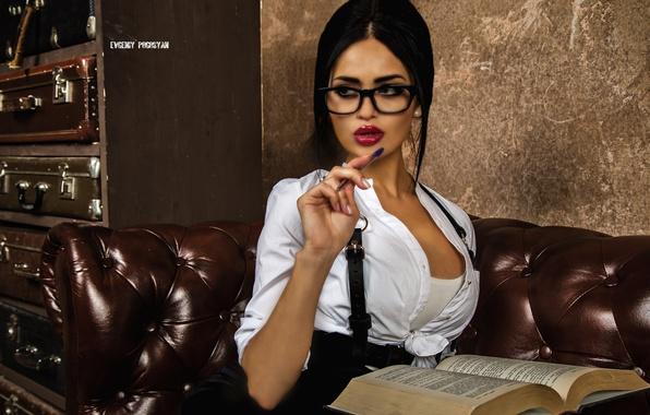 Picture look, girl, pose, sofa, skirt, brunette, glasses, handle, blouse, book, t-shirt, sitting, Nita Kuzmina
