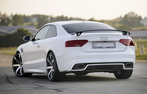 Picture white, background, Audi, tuning, coupe, Audi, drives, rear view, Coupe, tuning, S-Line, Rieger