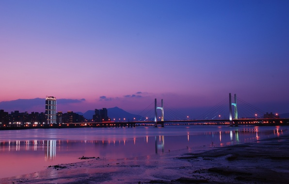 Picture the sky, clouds, night, bridge, city, lights, lights, reflection, river, China, China, Taiwan, river, sky, …