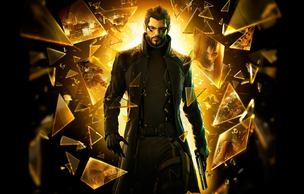 Picture Deus Ex: Human Revolution, image on the glass, pieces of glass