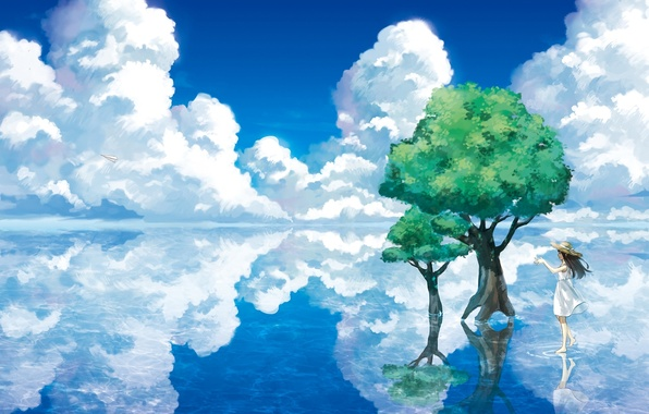 Picture water, clouds, trees, landscape, lake, reflection, hat, art, girl, paper airplane