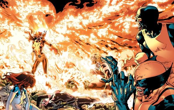 Picture battle, Wolverine, X-Men, Marvel Comics, Cyclops, Dark Phoenix, Sabretooth, Mistique