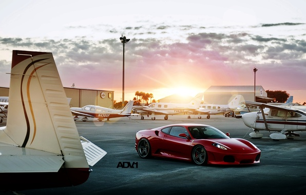 Picture the sun, sunset, red, tuning, supercar, ferrari, the airfield, f430, tuning, the front, aircraft, F430, …